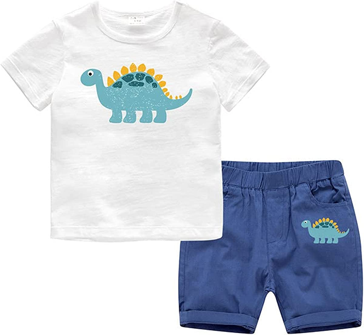 Rabuet Boys' Summer Cute Diansour Pattern Cotton Short Outfits Set
