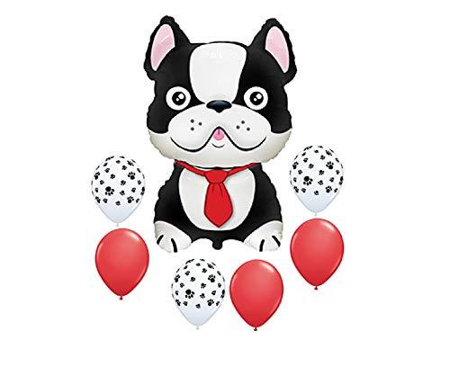 7 BALLOONS new FRENCH BULLDOG black DOG paw print ANY OCCASION new dog GET WELL happy birthday