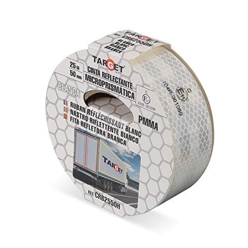 Cinta Reflectante - Homologada - TARGET - Blanco 25 m x 50 mm - Camión - Certificación Norma EC 104 - Adhesiva - Señalización - Marcar - CRB2550H