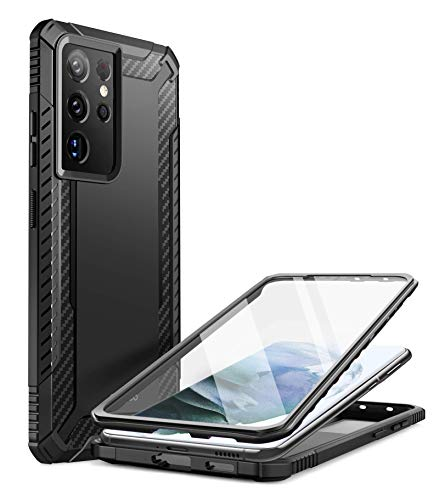 Clayco Xenon Series Case for Samsung Galaxy S21 Ultra 5G, [Built-in Screen Protector] Full-Body Rugged Cover Compatible with Fingerprint Reader, 6.8 inch 2021 Release (Black)