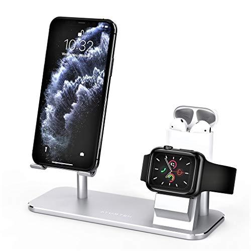 ATUMTEK Supporto da Tavolo 3 in 1 per Cellulari, Apple Watch e AirPods, Regolabile in Lega di Alluminio per iPhone, Apple Watch 4/3/2/1/ 44/42/40/38mm, AirPods 1/2/Pro iPad, Tablets e Altro Ancora