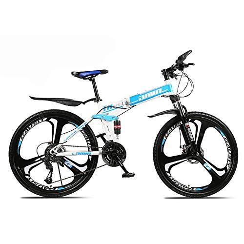 Bicicleta de montaña Plegable, Bicicleta de Doble amortiguación, Bicicleta de montaña con Marco de Aluminio liviano, Bicicleta de montaña para Adultos de 21/24/27/30 velocidades con suspensión delan