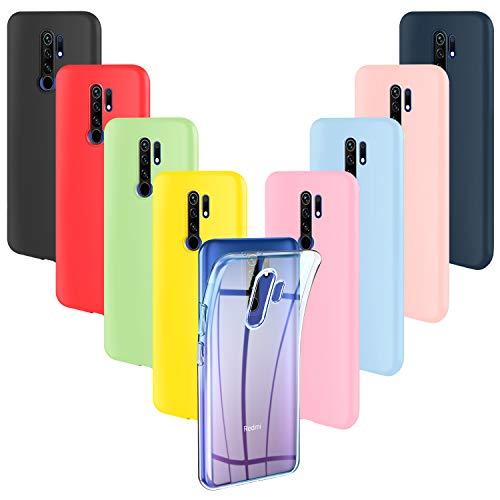 ivencase 9 × Custodia Xiaomi Redmi 9 Cover Silicone Sottile Morbido TPU Protettivo Cover Xiaomi Redmi 9 Rosa,Verde,Porpora,Rosa Chiaro,Giallo,Rosso,Blu Scuro,Traslucido,Nero