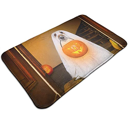 GOSMAO Felpudo de Entrada Alfombra Exterior para Puerta Impermeable Lavable Antideslizante Perros disfrazados para Halloween 40X60cm