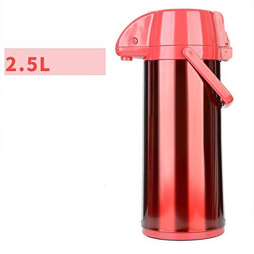 Jingyinyi pneumatische thermoskan, huishoudelijke roestvrij stalen behuizing glazen liner thermoskan, duurzaam, Rood