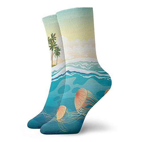 Calcetines suaves de media pantorrilla en el océano por Palm Exotic calcetines decorativos para hombres y mujeres