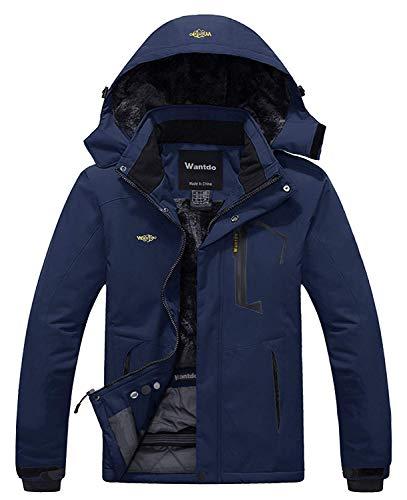 Wantdo Men's Waterproof Fleece Ski Jacket Windproof Winter Coat Parka Navy XL