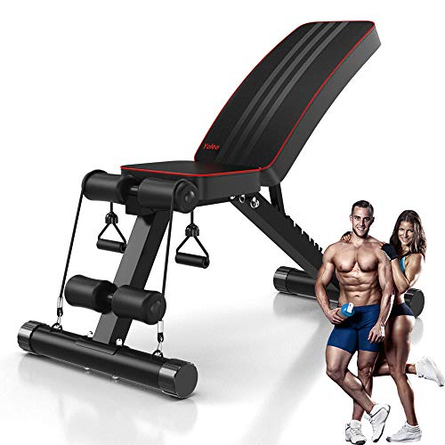 YoleoStore Utility Adjustable Weight Bench -2020 Version -for Full Body Workout, Foldable...