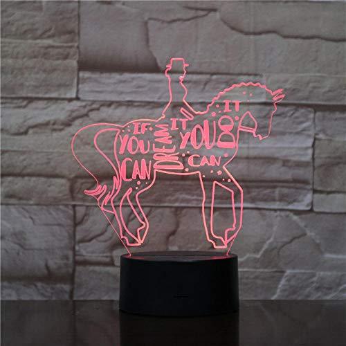 Luz De Noche Pequeña Para Dormitorio De Niños, Luz 3D Para Montar A Caballo, Luminaria Usb, Lámpara Led Encantadora De 7 Cambios De Color, Lámpara 3D-Con Mando A Distancia