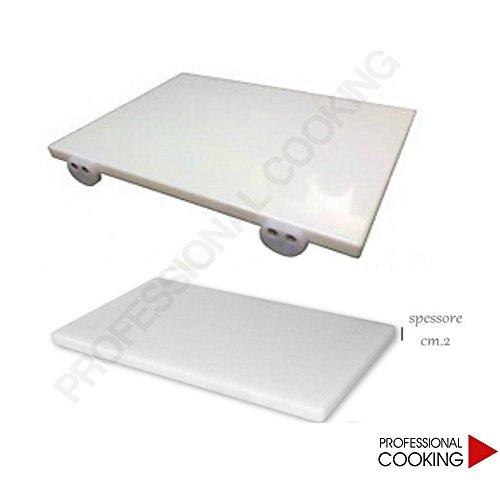 Professional Cooking Tagliere POLIETILENE Pesante Bianco Professionale con Fermi (60 x 40 x 2)