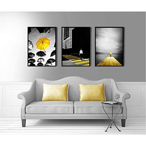 MMLFY 3 aufeinanderfolgende Gemälde 30x40 cm x 3 stücke Moderne Schwarz und Weiß Gelb Regenschirm Dekorative Wandbilder Für Kinder Leinwand Malerei Poster Home Decoration Kein Gestaltet