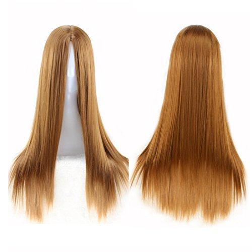 Pelucas de reemplazo de cabello (Multi-color) Partido de rendimiento de color pelucas for personas pelucas largas y rectas con flequillo medio pelucas resistentes al calor 65cm duradero, reutilizable