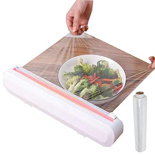 AAFLY Cortador de plástico profesional, herramientas de almacenamiento, dispensador de plástico rellenable con cortador de diapositivas, cortador de película de almacenamiento de cocina
