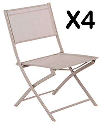 PEGANE Lot de 4 Chaises Pliantes Léo Taupe - Dim : 52 x 46 x 85 cm