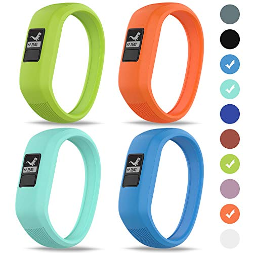 GVFM Band Compatible with Garmin Vivofit JR/Vivofit JR2 / Vivofit 3 Band, Soft Silicone Sports Replacement,Suitable for Children Boys and Girls (4-Lime,Teal,Orange,Sky Blue, L: for 6.7 inch)