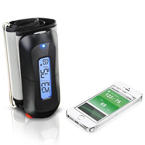MobileHealth Kabelloses Blutdruckmessgerät (Oberarm) mit Bluetooth für Apple iOS und Android - IHB und AF Erkennung - Inklusive APP