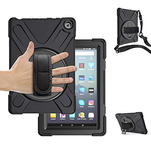 TSQ All-New Amazon Fire HD 8 Case, Fire HD 8 Plus (10th Generation, 2020 Release) with Stand | Heavy Duty Rugged Shockproof Protective Case W/Shoulder Strap for Fire HD 8 inch Tablet | Black