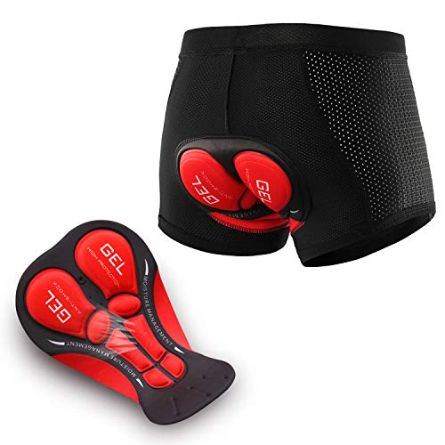 ARSUXEO Pantalones Acolchados 3D de Ciclismo para Hombres Ropa Interior de Bicicleta MTB Reflectante Transpirable Secado Rápido Pantalones Cortos Underwear Shorts Cycling Padded (Negro, XL)
