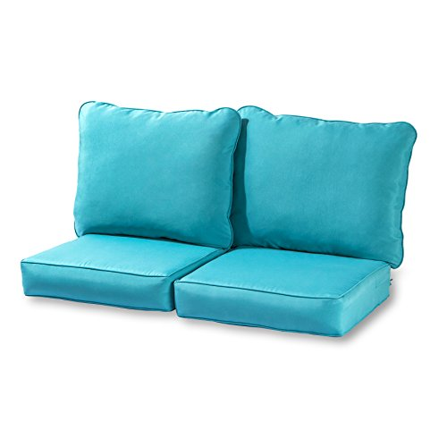 Greendale Home Fashions Deep Seat Loveseat Cushion Set, Teal