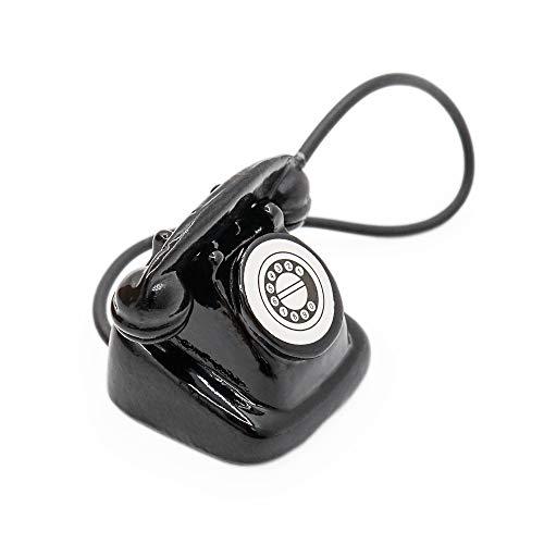 Odoria 1/12 Miniatur Retro Telefon 70s Stil Schwarz Für Puppenhaus Dekoration Zubehör