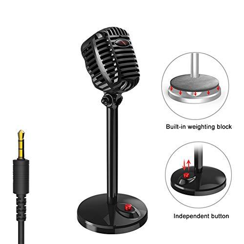 JSX karaoke-microfoonkabel Studio HD Noise-Cancelling-condensator Tabletop USB 3,5 mm Mircophone voor computervakman retro Mic