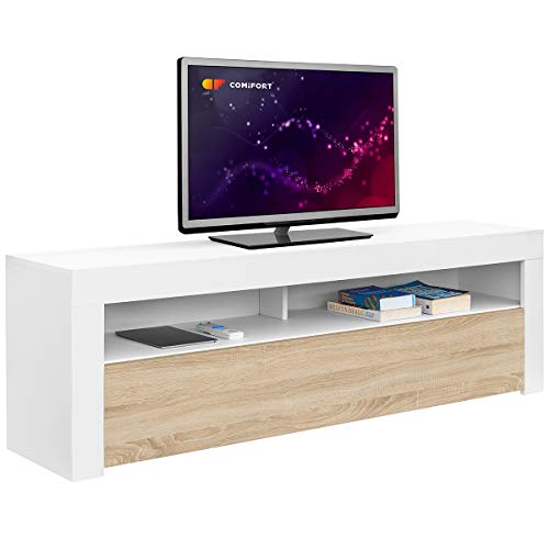 Comifort AP84B/S – Mueble TV Salon Moderno Mesa Television, Colores: Blanco, Blanco/Roble, Roble, Medidas: 160x35x50 Cm (Blanco/Roble)