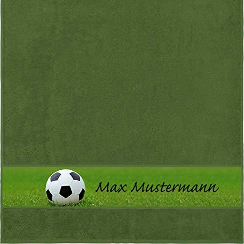 Duschtuch mit Namen - personalisiert - Motiv Sport - Fußball - viele Farben & Motive - Dusch-Handtuch - dunkelgrün - Größe 70x140 cm - persönliches Geschenk mit...