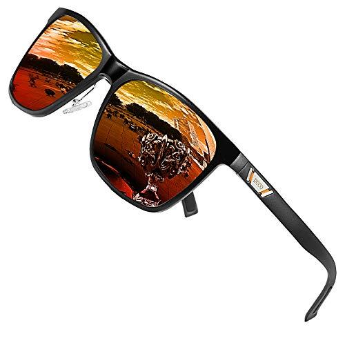 DUCO Metall Sonnenbrille Eckig Unisex Polarisierte Sonnenbrille mit UV400 Schutz für Outdoor Sports 3029H (Orange)