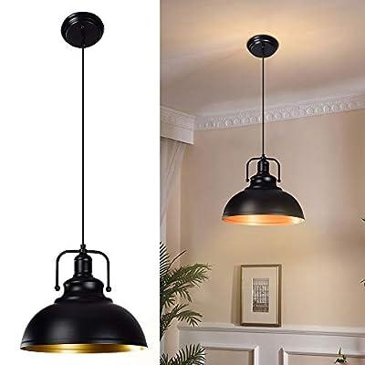 DLLT Black Pendant Light, Vintage Ceiling Hanging Light Fixture Farmhouse Decor, Adjustable Metal Hang Lamp, Industrial Dining Lights Fixture for Kitchen, Bar, Restaurant, Entryway, Warehouse E26
