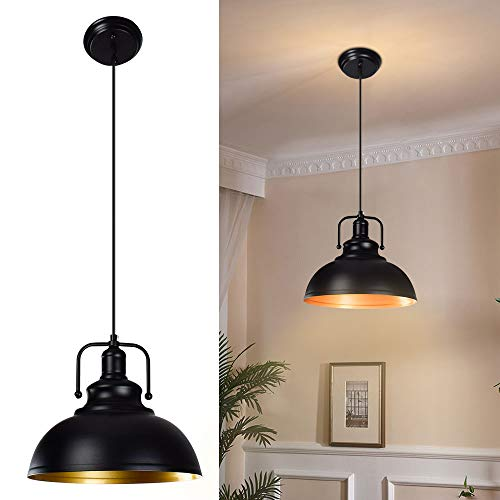 DLLT Black Pendant Light, Vintage Ceiling Hanging Light Fixture Farmhouse Decor, Adjustable Metal Hang Lamp, Industrial Dining Lights Fixture for Kitchen Bar Restaurant Entryway Warehouse, E26
