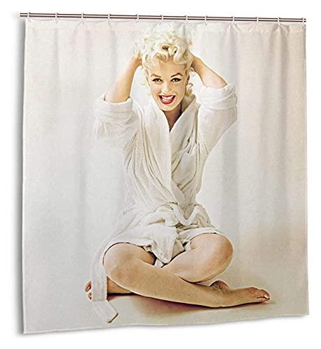 YZL Duschvorhang 3D Digital gedruckt Wasserdichtes Badezimmer Waschbar Bad Vorhang Polyester Stoff mit 12 Haken Badezimmer Dekor - Weiße Bademäntel Marilyn Monroe (Size : 180x180cm)
