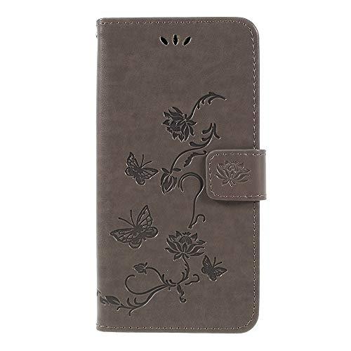 CoverKingz Handy Tasche für Samsung Galaxy A7 (2018) Handy Hülle, Flip Hülle Wallet, Schutzhülle mit Kartenfach, Handyhülle Schmetterling Motiv Grau