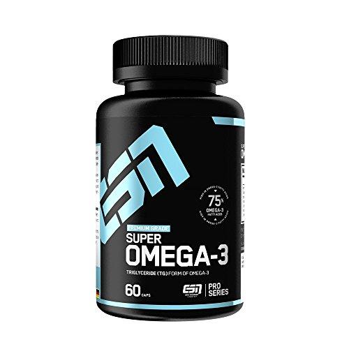 ESN Super Omega 3 Caps – 60 Kapseln à 1000 mg reines Seefischöl – Essentielle Fettsäuren EPA (Eicosapentaensäure) und DHA (Docosahexaensäure) – 60 Portionen – Made in Germany
