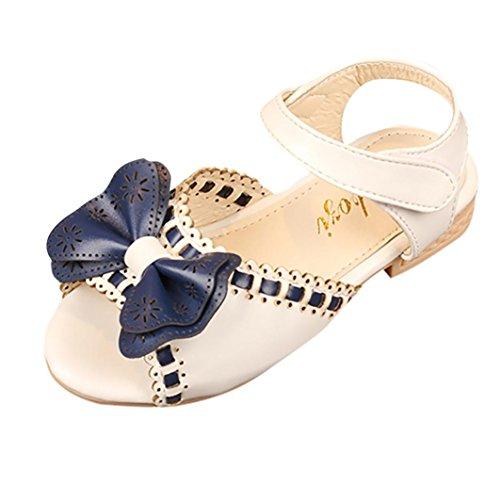 Elecenty Sandalen Bowknot Mädchen,Party Schuhe Shoes Offene Prinzessin Sandaletten Sommerschuhe Elegante Bequeme Badesandalette Freizeitschuhe Strandschuhe (32, Weiß)