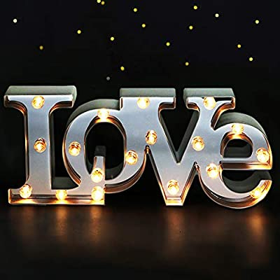 """Bright Zeal 16"""" x 7"""" Large Love Decor for Bedroom LED Marquee Sign (Mirror Front) - Love Wall Signs for Home Decor Wall Table Decor - Wedding Decorations Lights - Romantic Decorations Special Night"""