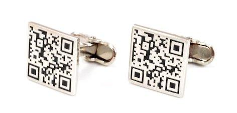 Gemelolandia | Boutons de Manchette en forme de code qr bidi de forme carrée Argenté | Pour Hommes et Garçons | Cadeaux Pour Mariages, Communions, Bap