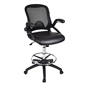 Drafting Stool Chair Adjustable Height with Flip-up Arms Breathable Mesh Seat and Foldable 5 Star Base Black