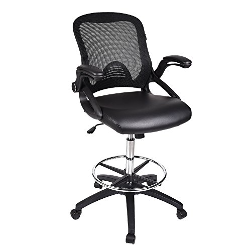 Home Office Drafting Chair Brown Leather Swivel Lumbar Support Ergonomic Mesh Back Arm Rest Chrome Foot Rest SGS Gas Lift Folding Extra Large 360 Base Computer Multi-Task BIFMA (Black PU)