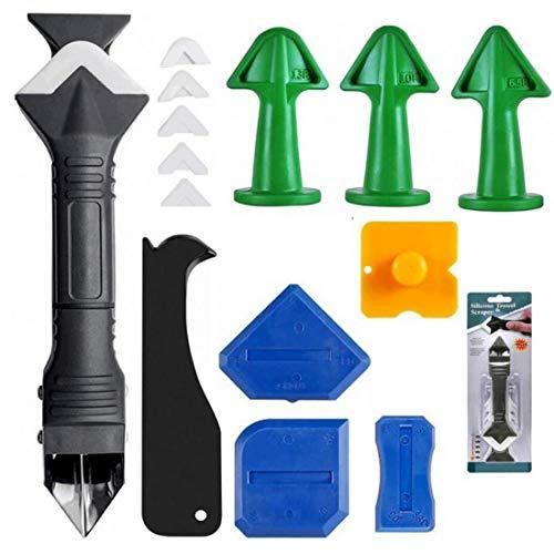 Herramienta de extracción de silicona, 3 en 1, raspador de juntas, juego de 4 piezas de silicona azul, para cocina, baño, baldosas
