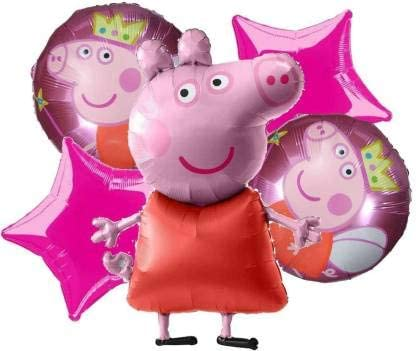 AARK PLANET Peppa Pig Cartoon Theme Birthday Decoration Foil Balloon (18 Inch, Pack of 5, Pink)