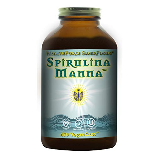 HealthForce Spirulina Manna - 450 Vegan Capsules - Certified Organic Spirulina, Superfood - Plant-Based Protein, Rich Source of Vitamin A - Non-GMO, Gluten-Free - 90 Servings