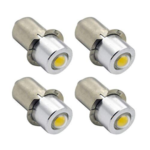 Ruiandsion 4pcs P13.5 Flashlight LED Bulbs 3-18V 1W 6000K White 200LM COB LED Bulb for Torchlight Flashlight Torch Headlight,Negative Earth