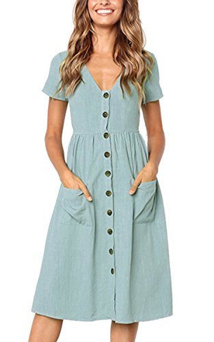 Angashion Women's Dresses-Short Sleeve V Neck Button Decoration T Shirt Midi Skater Dress with