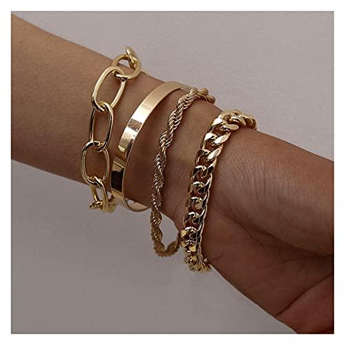 tggh 4 pulseras de cadena cubana para mujer, estilo bohemio, grueso, color dorado, pulseras de abalorios y brazaletes de moda (color metálico: dorado B029)