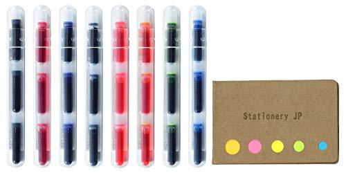 Pilot Petit Refills for Petit Fountain Pen/Sign Pen/Fude Brush Pen, 8 Color(Black/Blue/Red/Blue Black/Pink/Apricot Orange/Apple Green/Clear Blue)Ink, 8 Pack/total 24 Cartridges, Sticky Notes Value Set