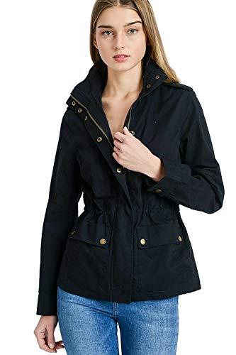 Women's Versatile Military Anorak Layered Fleece Double Zip Up Hoodie Jacket (Black - Anorak, Medium)