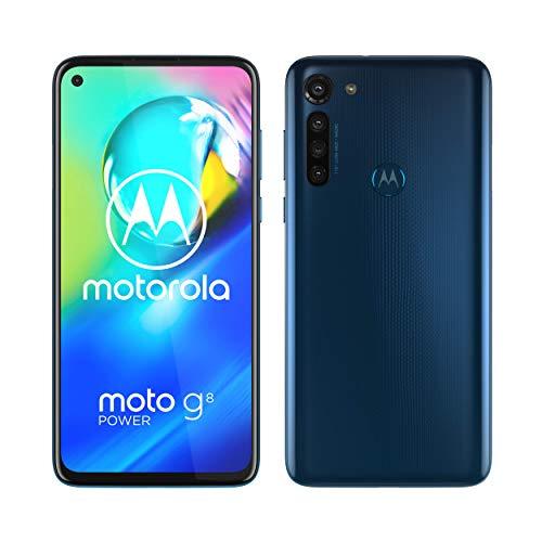 """Motorola Moto G8 Power (Pantalla de 6,4"""" FHD+ o-notch, procesador Qualcomm Snapdragon SD665, cámara principal de 16MP, cámara macro de 2MP, batería de 5000 mAH, Dual SIM, 4/64GB, Android 10), Azul"""