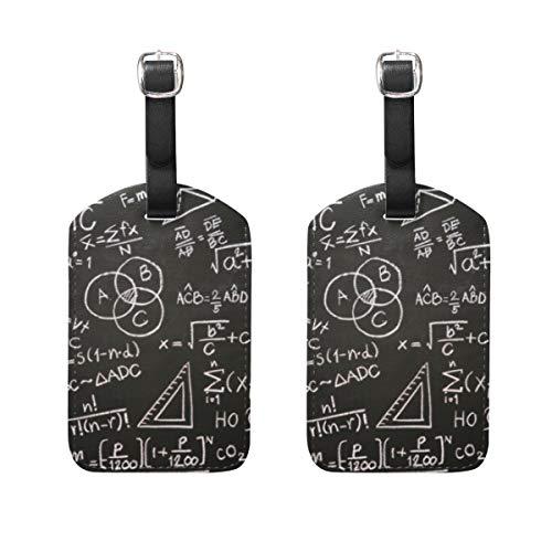 Gepäckanhänger, 2 Stück, tragbare Adress-Namensschilder, Kennzeichenschilder, kariert, Reisezubehör für Reisetasche, Koffer, Wissenschaftler, Taschenrechner, Schwarz