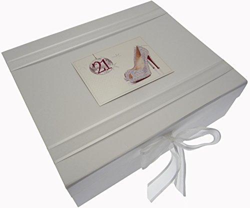 White Cotton Cards Boîte souvenir 21ème anniversaire Boule de paillettes et chaussures (Large)