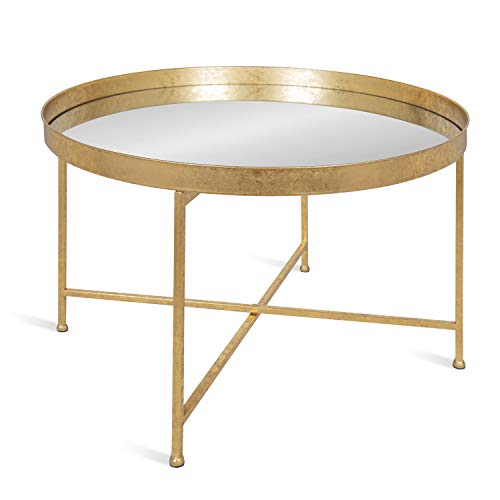"""Kate and Laurel Celia Metal Foldable Round Accent Coffee Table, 28.25"""" x 28.25"""" x 19"""", Mirrored Surface and Gold Frame, Modern Minimalist Design and Detachable Magnetic Tabletop"""